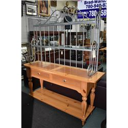 Pine and Metal Welsh dresser style sideboard with two glass shelves from the Eddie Bauer's Lifestyle