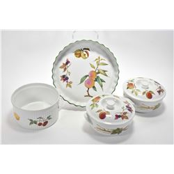 """Four pieces of Royal Worcester """"Evesham"""" including two lidded casserole dishes, large souffle dish a"""