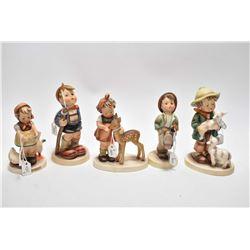"Five vintage Hummel figurines including ""Be Patient"", ""Little Hiker"", Friends"", Merry Wander"" and ""L"