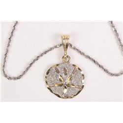 """14kt white gold 16"""" rope chain and a 14kt hewllog gold three dimensional sand dollar pendant. Retail"""