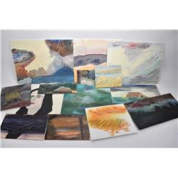 Selection of unframed original acrylic on board painting, assorted subjects and sizes