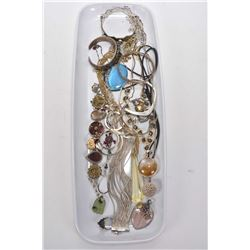 Selection of vintage and collectible jewellery including sterling silver, bangles, bracelet, gemston