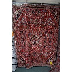 100% wool Iranian Meshkabad area carpet with diamond center medallion, overall floral motif, red bac