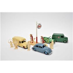 Selection of vintage Dinky Toys including Esso gas pumps and figures, Jeep, Dailmer Red Cross ambula