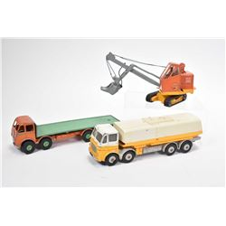 Three vintage die cast toys including two Dinky Supertoys, Leyland Octopus and Foden flat deck plus
