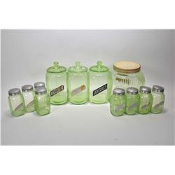 "Vintage twelve piece Uranium glass canister set including three lidded ""Cereal"" canisters, eight spi"