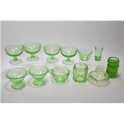 Selection of vintage uranium glass including set of four and set of two dessert dishes, furniture sl