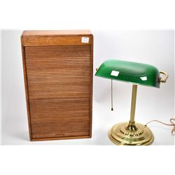Vintage oak documents box with roll top lid and dove tail joining plus a brass style desk lamp with