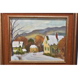 "Framed acrylic on board painting of a mountainous rural setting, unsigned, 8"" X 10"""