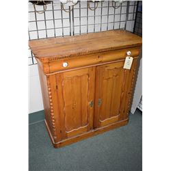 Small antique pine sideboard with single drawer and two doors