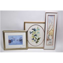 Three framed pieces of wall art including a wintery pathways watercolour signed by artist Andrew Rei