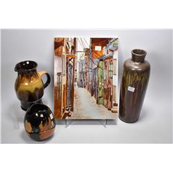 "Street scene motif glazed wall tile 13 3/4 X 10 1/2"" plus a Canadian Pottery pitcher, a vase and sma"