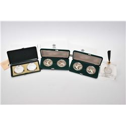 Three boxed Royal Canadian Mint double .925 sterling silver Calgary Winter Olympic coin sets, each c