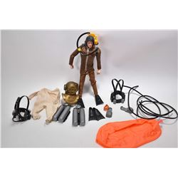 Vintage G.I. Joe frogman figure patented 1964 with deep sea helmet, lead boots, inflatable dingy, un