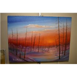 Four original acrylic on stretched canvas paintings including two stylized landscape painting both s