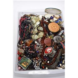 Large selection of vintage costume and collectible jewellery including beaded necklaces, amber beade