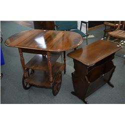 Two mid 20th century pieces of walnut furniture including drop leaf tea wagon and a side table with