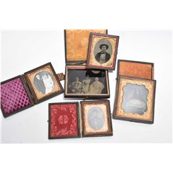 Selection of antique daguerreotypes including one in civil war era military uniform