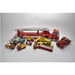 "Selection of vintage stamped steel toys including 30"" long Tonka ladder truck, Lincoln highway tract"