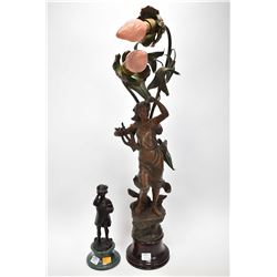 "Small bronze little girl blowing bubbles 9"" in height including plinth plus a vintage spelter lamp o"