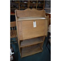 Antique Canadiana drop front secretaire with open book storage, stripped and ready for prep. and fin