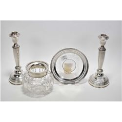 "Selection of sterling silver including two 8"" candlesticks, cut crystal flower bowl with sterling co"