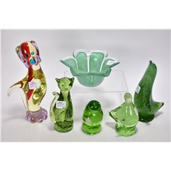 Six pieces of Alta glass including five animals and ruffled bowl, three with paper labels