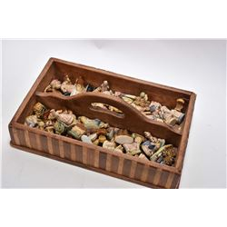 Shop made double sided caddy containing a large selection Wade Potteries fairytale figures