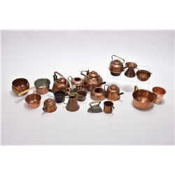Selection of vintage copper miniatures including kettles, pots and pans