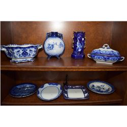 Eight pieces of vintage blue and white including