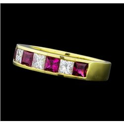 0.80 ctw Ruby and Diamond Ring - 18KT Yellow Gold