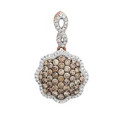 14k Rose Gold 0.83CTW Diamond and Brown Diamonds Pendant, (Gold)