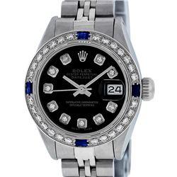Rolex Ladies Stainless Steel Black Diamond & Sapphire Datejust Wristwatch
