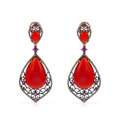 14k Rose Gold  37.48CTW Red Agate and Pink Sapphire and Brown Diamonds Earrings