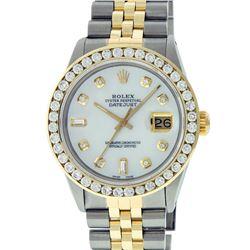 Rolex Mens 2 Tone Mother Of Pearl 3 ctw Channel Set Diamond Datejust Wristwatch
