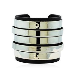 Multi Bangle Design Cuff Bracelet - Metal and Leather