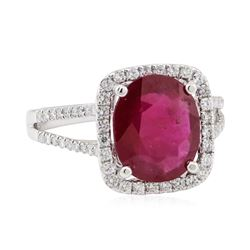 4.40 ctw Ruby and Diamond Ring - 18KT White Gold