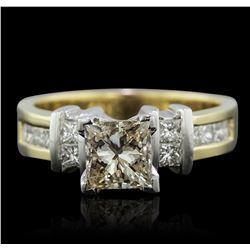 14KT Yellow Gold 1.56 ctw Princess Cut Diamond Ring