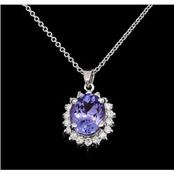 3.05 ctw Tanzanite and Diamond Pendant With Chain - 14KT White Gold