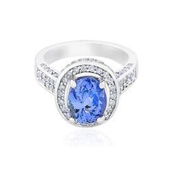 14KT White Gold 2.81 ctw Tanzanite and Diamond Ring
