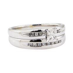 0.65 ctw Diamond Wedding Set - 14KT White Gold
