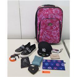 Hawaiian Suitcase, Guess Shoes, Canon Power Shot Camera, Cap, etc