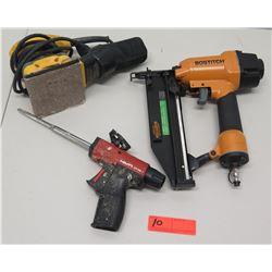Bostitch Nail Gun, Hilti CF-DS1 Foam Dispenser & DeWalt Electric Sander