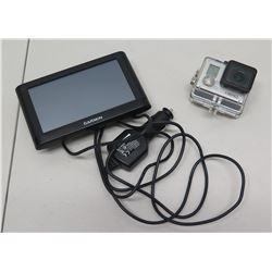 Garmin GPS Navigator System w/ Mount & Cord, GoPro Hero Camera