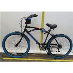 "Kent 2600 Bayside 26"" Blue Tire GS72696 Black Cruiser Bike"