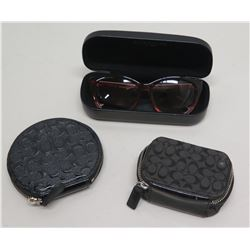 Qty 2 Black Monogrammed Zippered Cases & Coach Sunglasses w/ Case