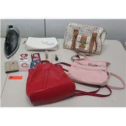 Qty 4 Canvas & Leather Handbags, Travel Iron, Betty Boop Magnets, etc