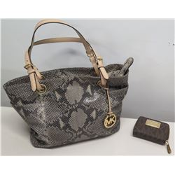 Michael Kors Snakeskin Design Handbag & Small MK Zipper Wallet