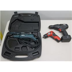 Black & Decker Wizard Rotary Tool in Case, Pivot Driver & 7.2V Drill