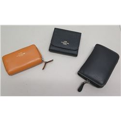 Qty 3 Zippered Wallets - 1 Orange Coach Pebble Leather, 1 Black Coach, 1 Black Other